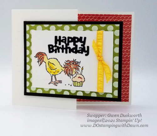 Stampin' Up! Hey Birthday Chick Bundle swap card shared by Dawn Olchefske #dostamping #cardmaking (Gwen Duckworth)