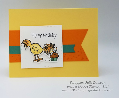 Stampin' Up! Hey Birthday Chick Bundle swap card shared by Dawn Olchefske #dostamping #cardmaking (Julie Davison)