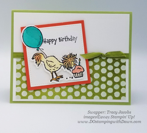 Stampin' Up! Hey Birthday Chick Bundle swap card shared by Dawn Olchefske #dostamping #cardmaking (Tracy Jacobs)