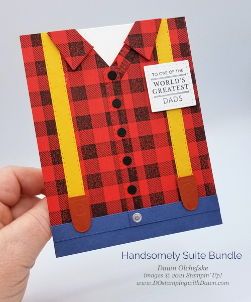 Stampin' Up! Handsomely Suited Bundle lumberjack card by Dawn Olchefske #dostamping #HowdSheDOthat #papercrafting #masculine-P