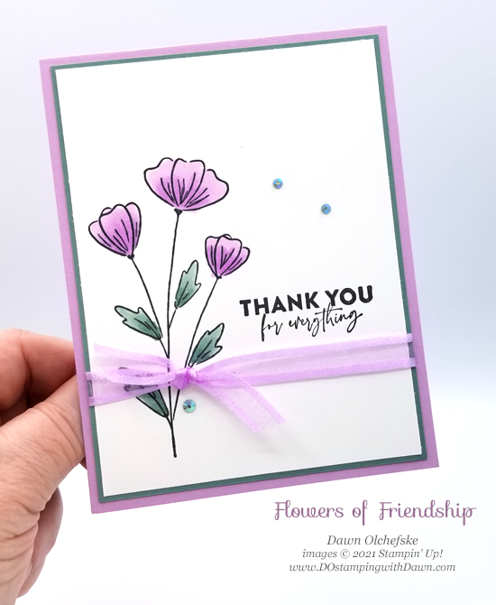NEW Stampin' Up! Flowers of Friendship card by Dawn Olchefske #dostamping #HowdSheDOthat #papercrafting #incolor-PH