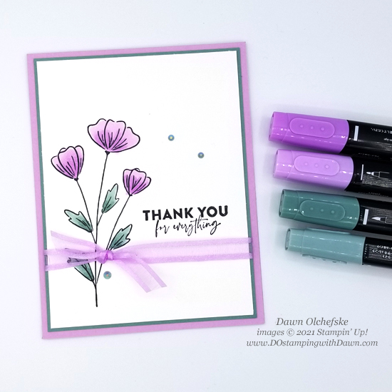 NEW Stampin' Up! Flowers of Friendship card by Dawn Olchefske #dostamping #HowdSheDOthat #papercrafting #incolor-SB2