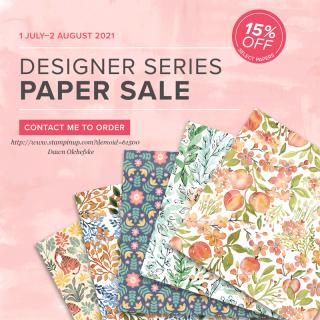 Stampin' Up! Designer Series Paper Sale!  15% off during July!  Shop with Dawn Olchefske #dostamping #patternpapersale #designerseriespaper #papercrafting