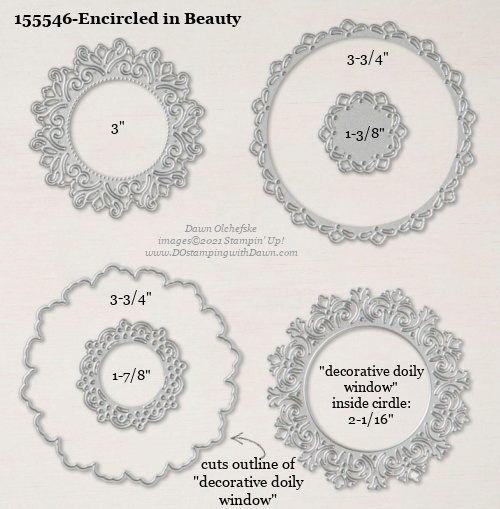 Stampin' Up! Encircled in Beauty Dies sizes shared by Dawn Olchefske #dostamping #stampinup #papercrafting #diecutting #stampindies