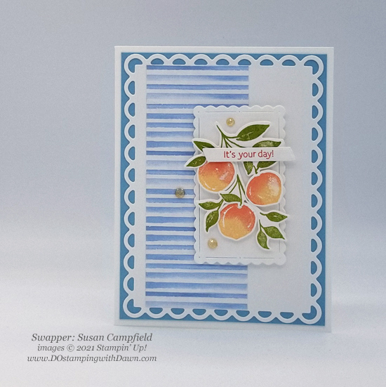 Stampin' Up! Designer Series Paper Sale You're a Peach swap cards shared by Dawn Olchefske #dostamping #YoureaPeach-Susan Campfield