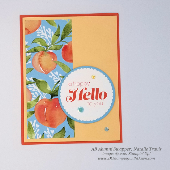 Stampin' Up! Designer Series Paper Sale You're a Peach swap cards shared by Dawn Olchefske #dostamping #YoureaPeach-Natalie Travis-1