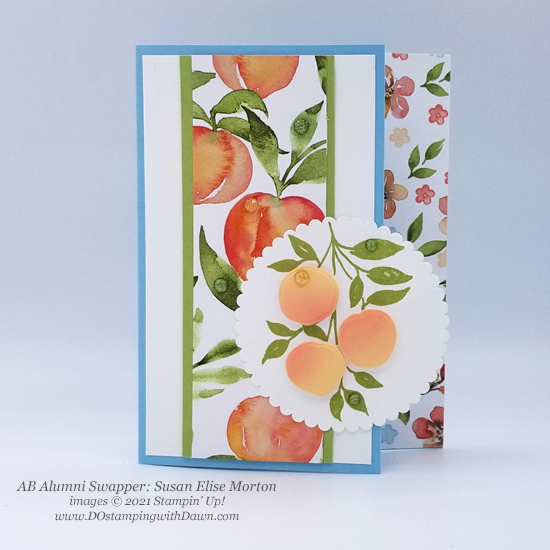 Stampin' Up! Designer Series Paper Sale You're a Peach swap cards shared by Dawn Olchefske #dostamping #YoureaPeach-Susan Elise-Morton