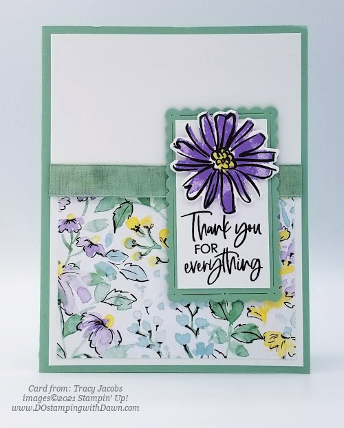 Stampin' Up! Designer Series Paper Sale Hand-Penned card shared by Dawn Olchefske #dostamping (Tracy Jacobs)