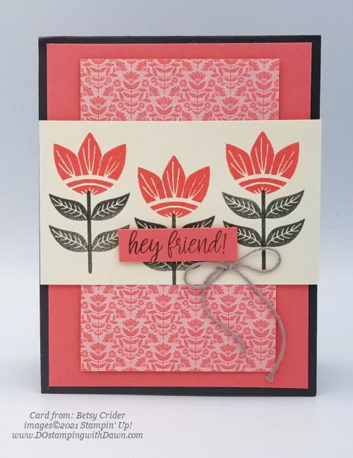 Stampin' Up! Designer Series Paper Sale Sweet Symmetry card shared by Dawn Olchefske #dostamping (Betsy Crider)