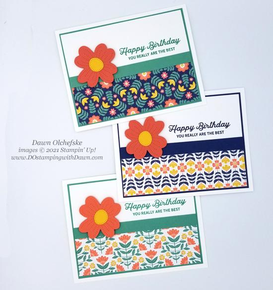 Stampin' Up! Sweet Symmetry Designer Series Paper and In Bloom stamp set card by Dawn Olchefske #dostamping #HowdSheDOthat-3