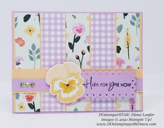 Stampin' Up! Pansy Petals Designer Series Paper card shared by Dawn Olchefske #dostamping #olympics (DOstamperSTAR Diane Lanfer)2