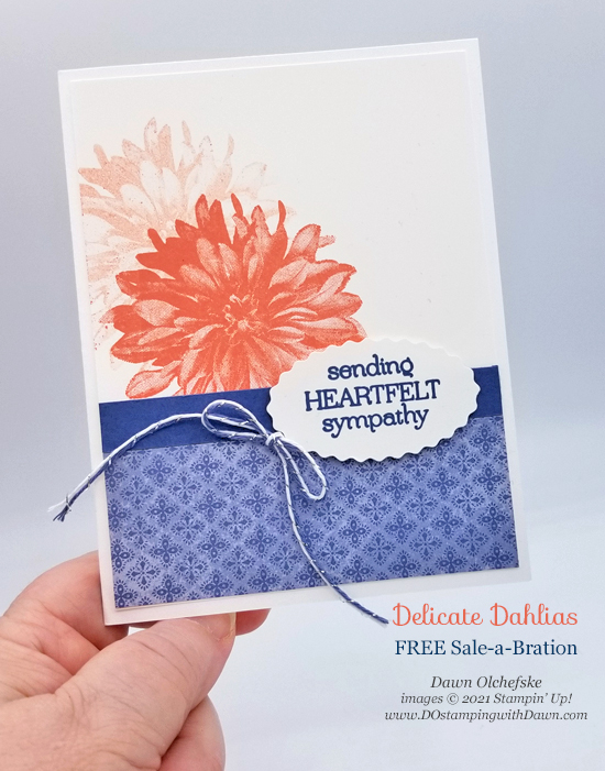 Stampin' Up! FREE Sale-a-Bration Delicate Dahlias stamp set card by Dawn Olchefske coming August 3 #dostamping #HowdSheDOthat-P