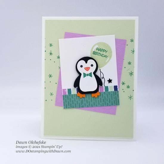 Stampin' Up! Penguin Place Bundle and FREE Penguin Playmates Designer Series Paper card by Dawn Olchefske #dostamping #HowdSheDOthat #saleabration.2