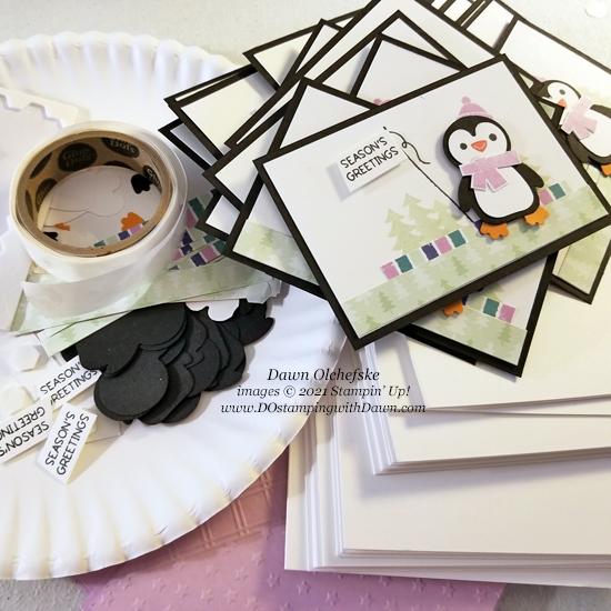 Prepping Penguin Place Bundle and FREE Sale-a-bration Penguin Playmates Designer Series Paper card by Dawn Olchefske - #dostamping #HowdSheDOthat #stampinup #penguinpunch #stampinup