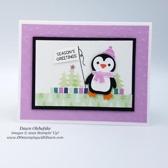 Penguin Place Bundle and FREE Sale-a-bration Penguin Playmates Designer Series Paper card by Dawn Olchefske - #dostamping #HowdSheDOthat #stampinup #penguinpunch #stampinup-2