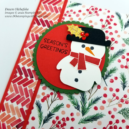 Snowman Punch Art with Penguin Place Bundle by Dawn Olchefske #dostamping #HowdSheDOthat #stampinup #punch art #paintedchristmas-cu
