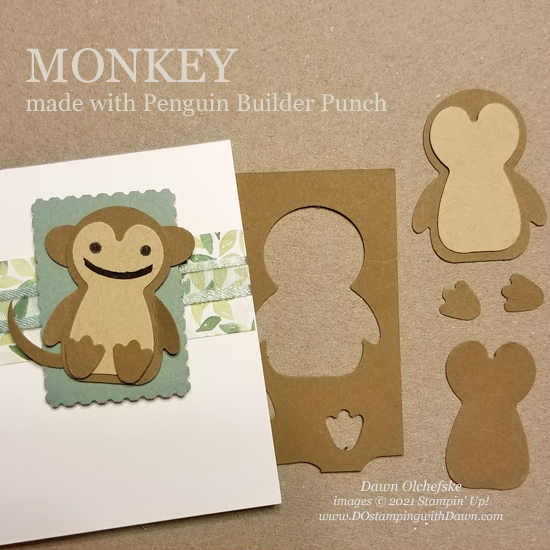 Animal Punch Art monkey using Penguin Builder Punch card from Dawn Olchefske #dostamping #HowdSheDOthat #stampinup #punchart P