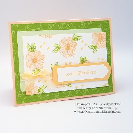 Sale-A-Bration Delicate Dahlias free stamp set card shared by Dawn Olchefske #dostamping #stampinup #DOstamperSTARS (Beverly Jackson)