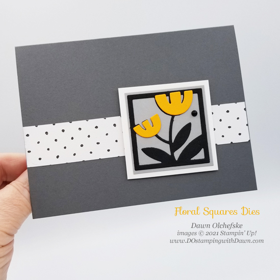 Stampin' Up! Floral Squares Dies with FREE Sale-a-Bration Beautifully Penned Paper card by Dawn Olchefske #dostamping #HowdSheDOthat #stampinup #cardmaking mango
