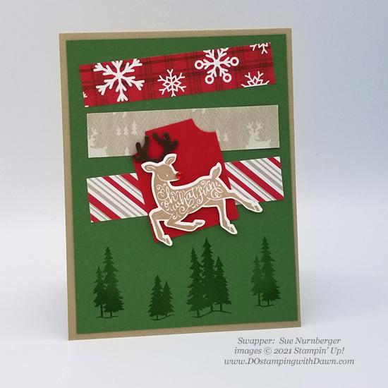FREE Sale-a-Bration Peaceful Prints Designer Series Paper & Peaceful Deer Bundle swap cards shared by Dawn Olchefske #dostamping #stampinup (Sue Nurnberger0