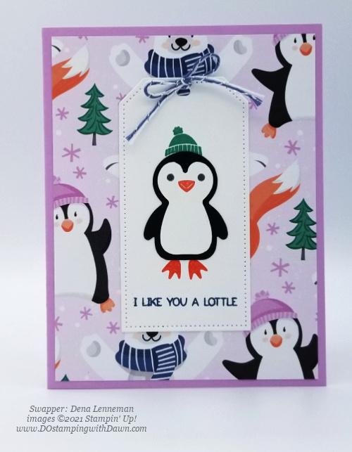 FREE Sale-a-Bration Penguin Playmates Designer Series Paper swap cards shared by Dawn Olchefske #dostamping #stampinup (Dena Lenneman)