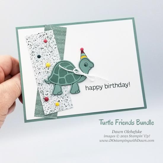 Stampin' Up! Turtle Friends Bundle card by Dawn Olchefske with sneak peek at Ever Eden Designer Series Paper #dostamping #HowdSheDOthat #stampinup #cardmaking #birthday p
