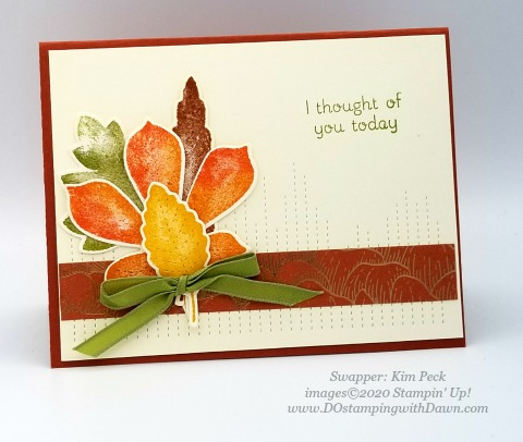 Stampin' Up! Love of Leaves Bundle swap card shared by Dawn Olchefske #dostamping #howdshedothat #stampinup #handmade #cardmaking #stamping #papercrafting (Kim Peck)