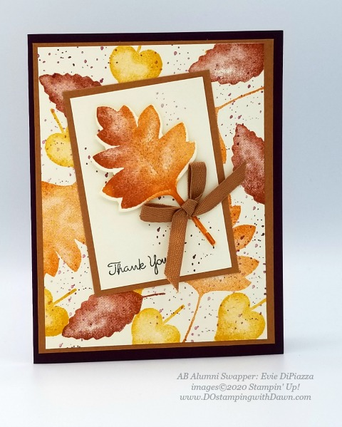 Stampin' Up! Love of Leaves Bundle swap card shared by Dawn Olchefske #dostamping #howdshedothat #stampinup #handmade #cardmaking #stamping #papercrafting (Evie DiPiazza)
