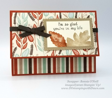 Stampin' Up! Love of Leaves Bundle swap card shared by Dawn Olchefske #dostamping #howdshedothat #stampinup #handmade #cardmaking #stamping #papercrafting (Bonnie O'Neill)