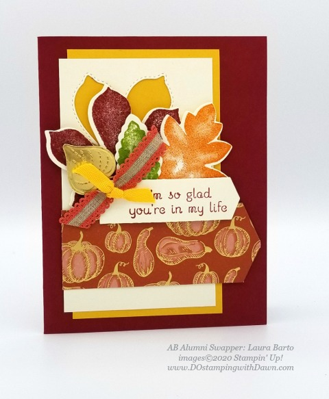 Stampin' Up! Love of Leaves Bundle swap card shared by Dawn Olchefske #dostamping #howdshedothat #stampinup #handmade #cardmaking #stamping #papercrafting (Laura Barto)