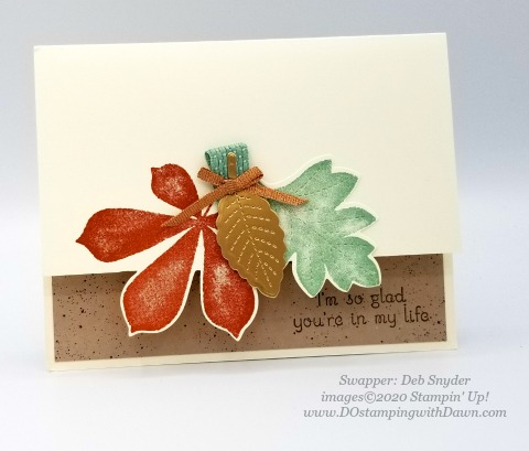 Stampin' Up! Love of Leaves Bundle swap card shared by Dawn Olchefske #dostamping #howdshedothat #stampinup #handmade #cardmaking #stamping #papercrafting (Deb Snyder)