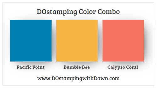 Stampin' Up! Color Combo Pacific Point, Bumblebee, Calypso Coral #dostamping #stampinup #colorcombo