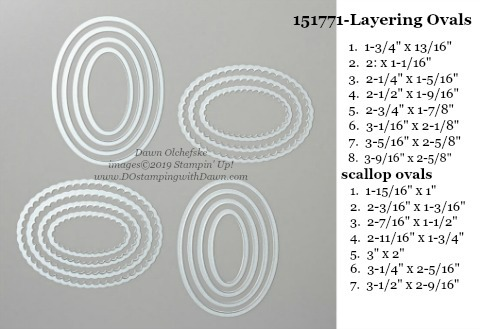 Stampin' Up! Layering Oval Dies sizes shared by Dawn Olchefske #dostamping #stampinup #papercrafting #diecutting #stampindies