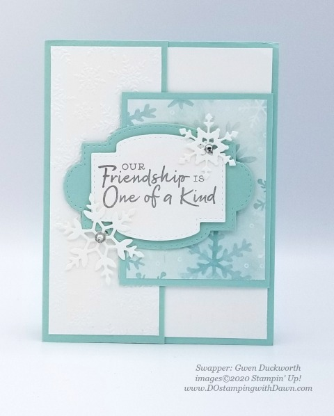 Stampin' Up! Snowflake Splendor Suite, Christmas swap card shared by Dawn Olchefske #dostamping #cardmaking #stamping #papercrafting  (Gwen Duckworth)