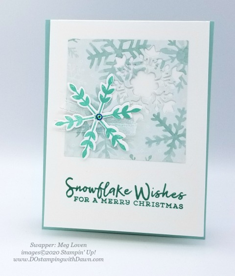 Stampin' Up! Snowflake Splendor Suite, Christmas swap card shared by Dawn Olchefske #dostamping #cardmaking #stamping #papercrafting  (Meg Loven)