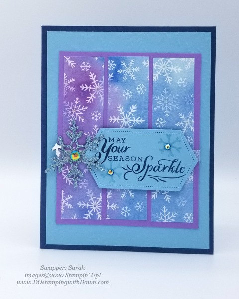 Stampin' Up! Snowflake Splendor Suite Christmas swap card shared by Dawn Olchefske #dostamping #cardmaking #stamping #papercrafting (Sarah)