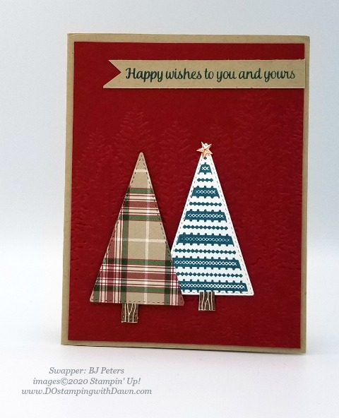 Stampin' Up! Tree  Angle swap shared by Dawn Olcheske #dostamping #christmas cards (BJ Peters)
