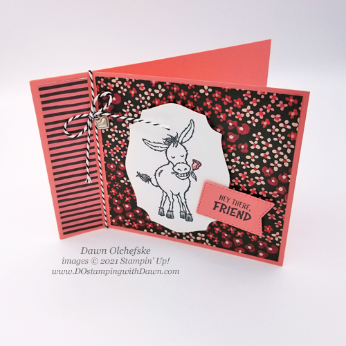 FREE Sale-a-Bration.Darling Donkeys stamp set card by Dawn Olchefske #dostamping #stampinup #papercrafting-top