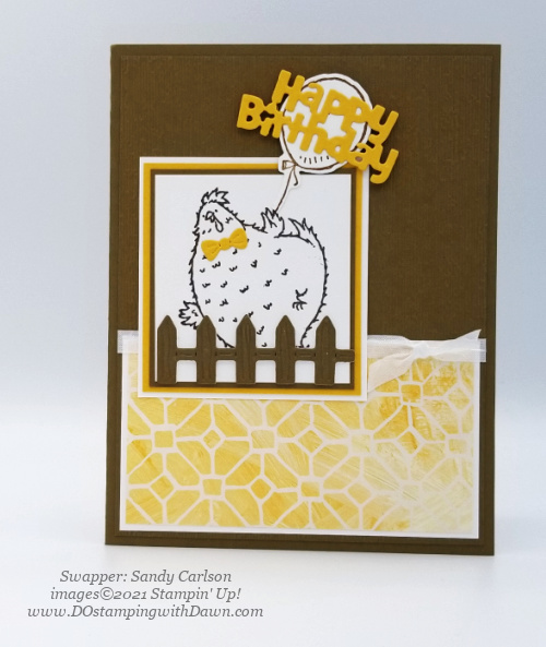 Stampin' Up! Hey Birthday Chick Bundle swap card shared by Dawn Olchefske #dostamping #cardmaking (Sandy Carlson)