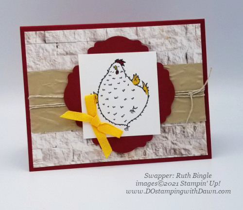 Stampin' Up! Hey Chick Bundle swap card shared by Dawn Olchefske #dostamping #cardmaking (Ruth Bingle)