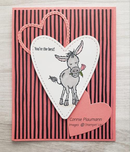 Darling Donkeys card shared by Dawn Olchefske made by DOstamperSTAR Connie Plaumann #dostamping #stampinup #valentinesdaycards-1