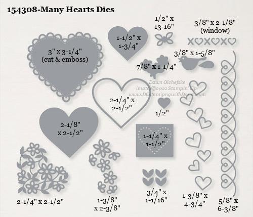 154308-Stampin' Up! Many Hearts Dies measurements #DOstamping #stampinup #stampincut #cardmaking #HowdSheDOthat #papercrafting