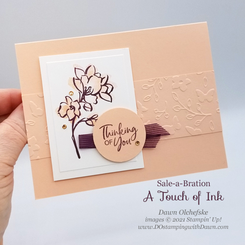 Sale-a-Bration Touch of Ink card by Dawn Olchefske #dostamping #stampinup #howdSheDOthat-P