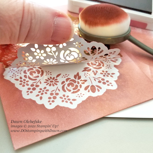 Paper Pumpkin Bouquet of Hope February 2019 kit stencil idea from Dawn Olchefske #dostamping #cardkits #howdSheDOthat-2