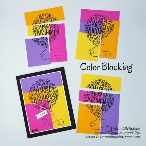 Stampin' Up! Hooray To You Color Blocking card by Dawn Olchefske for #DOstamperSTARS #DO357 #DOstamping #HowdSheDOthat-4