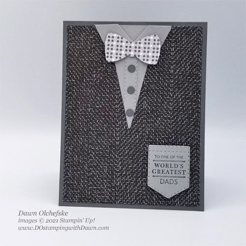 Stampin' Up! Handsomely Suited Bundle card by Dawn Olchefske #dostamping #HowdSheDOthat #papercrafting #masculine