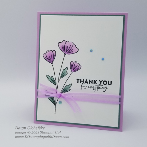 Stampin' Up! New In Color card by Dawn Olchefske #dostamping #flowersofFriendship