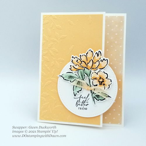 Stampin' Up! New In Color swap cards shared by Dawn Olchefske #dostamping #Hand-Penned Petals (Gwen Duckworthj)