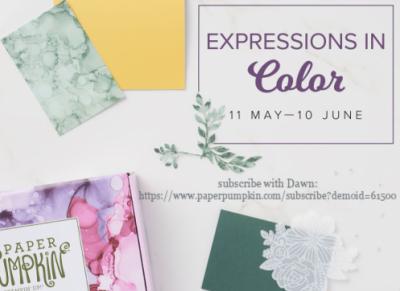 June Paper Pumpkin sneak peak shared by Dawn Olchefske - subscribe by June 10 #paperpumpkin #expressionincolor #dostamping