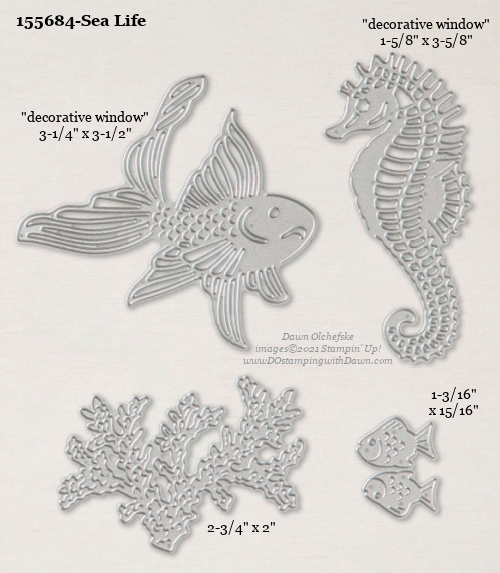 Stampin' Up! Sea Life Die size shared by Dawn Olchefske #dostamping #stampinup #papercrafting #diecutting #stampindies